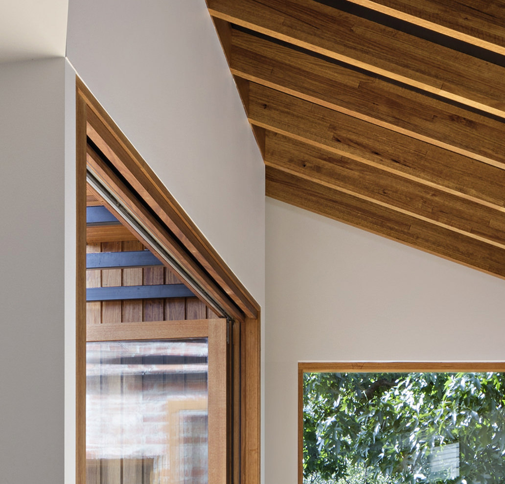 Detail of timber framed doors and windows at MRTN Architects Rathmines House