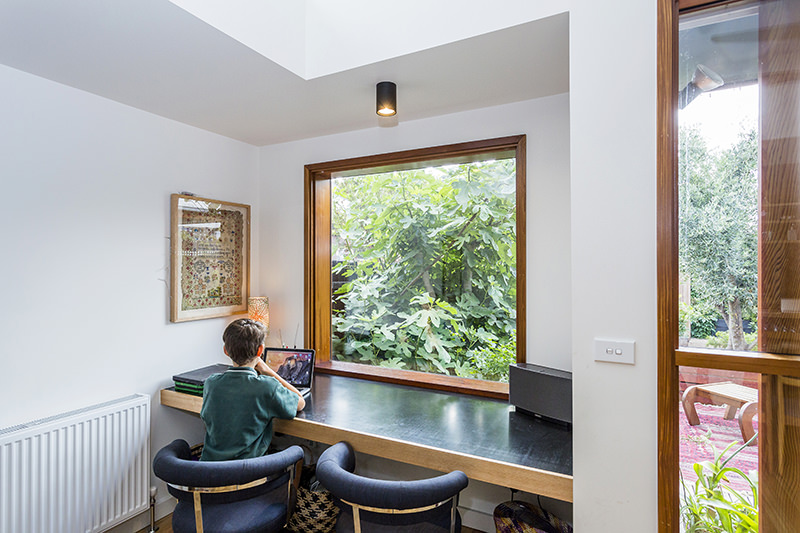 Custom fixed timber window in a study nook