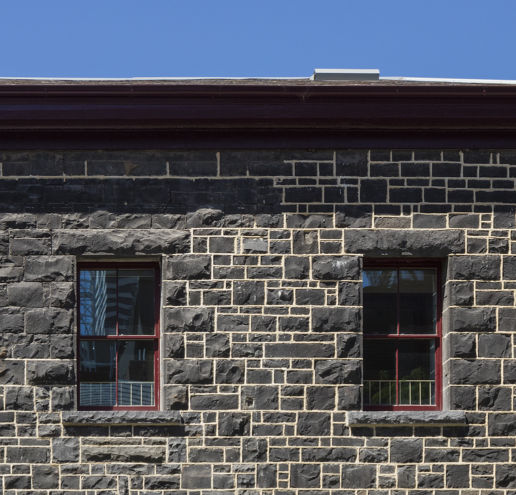 Detail of the heritage timber windows at RMIT Building 11
