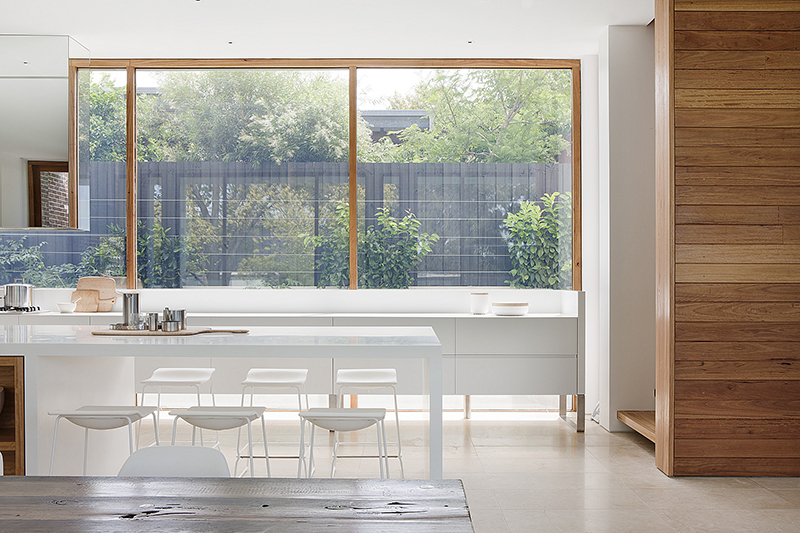 Timber kitchen window at Rob Mills Architecture & Interiors' Kew Residence